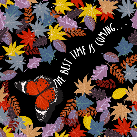 Butterfly flying through the Autumn winter leaves in the night seamless pattern vector design for card fashion,fabric,and all prints on black background color Vector Illustratie