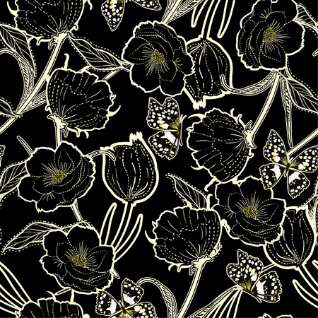 Beautiful outline hand drawn graden in the dark dash botanic flowers with butterflies ,design for fashion,fabric,wallpaper and all prints on black background color.