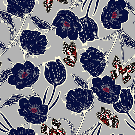 Outline hand drawn graden in the dash botanic dark blue flowers with butterflies ,design for fashion,fabric,wallpaper and all prints on light grey background color Vettoriali