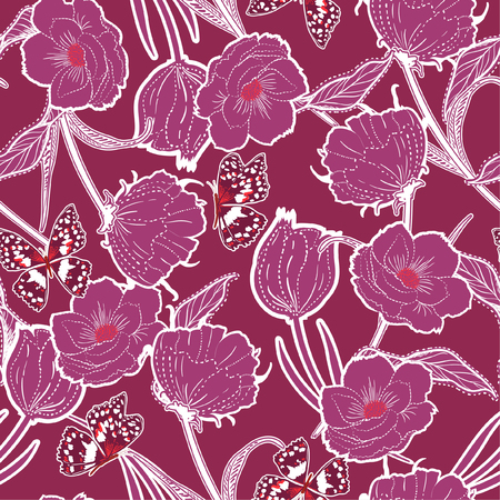 Vintage Outline hand drawn graden in the dash botanic dark blue flowers with butterflies ,design for fashion,fabric,wallpaper and all prints on dark pink background color Ilustrace