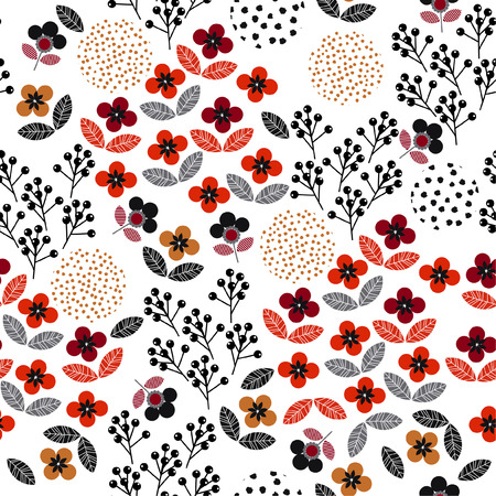 Échelle moderne de Samll de modèle sans couture floral de liberté géométrique coloré. motif de fleurs dans la conception d'illustration vectorielle pour la mode, le tissu et toutes les impressions sur fond blanc