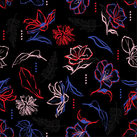 Hand brush strokes line of dark garden flowers and brush strokes. Vector seamless pattern illustration design for fshion,fabric ,and all prints on black background color
