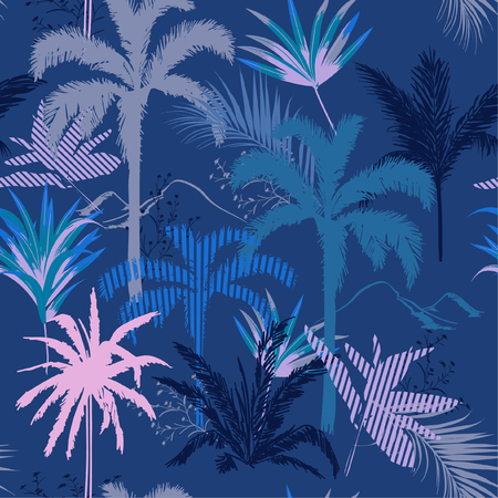 Beautiful monotone blue Tropical forest night  leaves and tress  hand drawn style seamless pattern vector for fashion fabric , wallpaper, and all prints