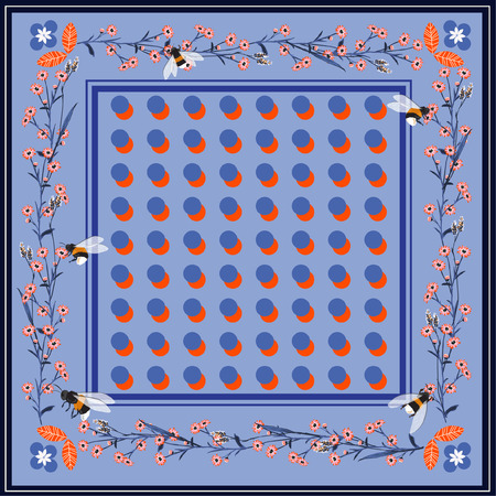 Modern and trendy shawl, scarf print. polka dots with Flowering summer meadow background. Bandana, pareo, home textile design. Use for fashion, covers, surface, scrapbooking, and all prints on blue background