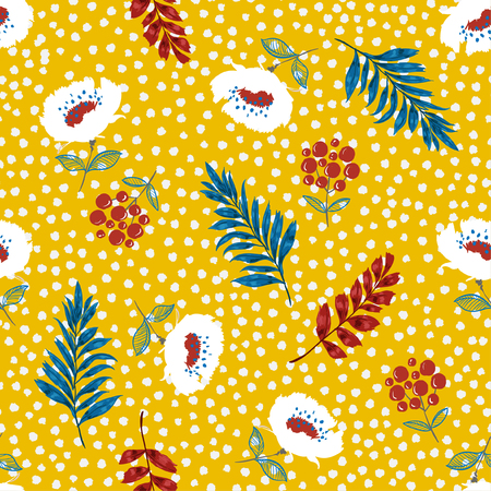 Bright summer blooming floral pattern vector ,Flowers on hand drawn on tone polka dot background. Vector summer .for fashion fabric and all prints on yellow