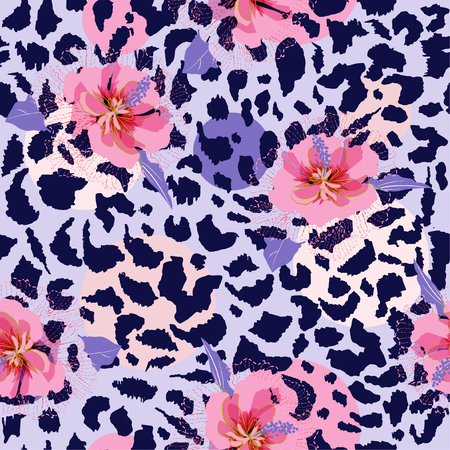 Beautiful blooming flower on animal skin leopard prints seamless pattern vector,design for fashion,fabric,wallpaper and all prints on light grey background color Çizim