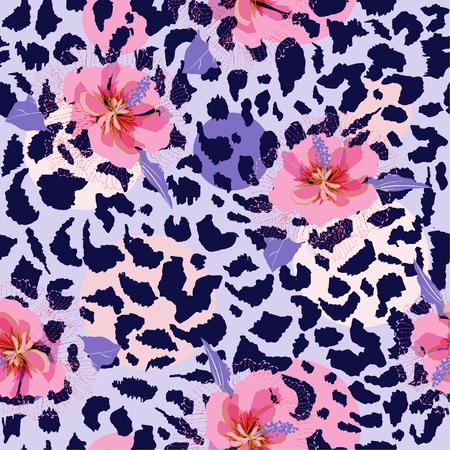 Hermosa flor floreciente en piel de animal estampados de leopardo vector de patrones sin fisuras, diseño de moda, tela, papel tapiz y todas las impresiones en color de fondo gris claro
