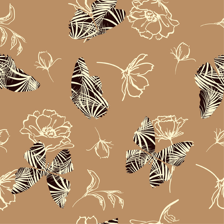 Butterfly fill-in tropical pattern flying on hand sketch doodle flower and leaves seamless vector design for fashion, fabric, wallpaper, and all prints on beige background color