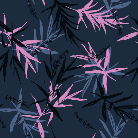 Dark oriental garden Seamless pattern vector of brush  bamboo leaves  and flower design for fashion ,fabric, wallpaper on navy blue background color Illusztráció