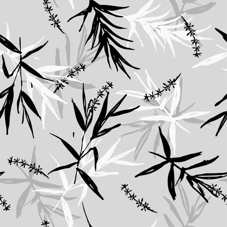 Seamless pattern vector of brush bamboo leaves  and flower oriental style design for fashion ,fabric, wallpaper on light grey background color Illustration