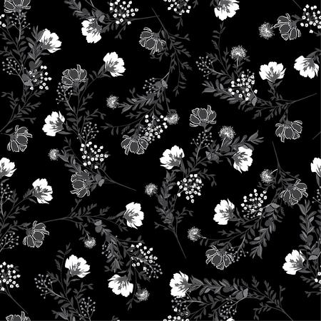 Nahtloses Schwarzweiss-Muster, blühende Gartenblumen im zarten botanischen Design für Mode, Stoff, Tapete und alle Drucke