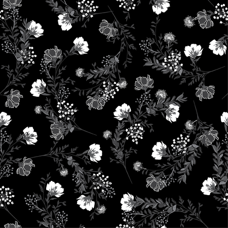 Zwart-wit Naadloos patroon, bloeiende tuinbloemen in delicaat botanisch ontwerp voor mode, stof, behang en alle prints