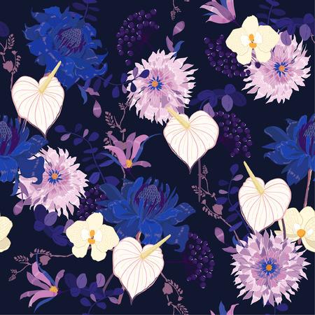 Schöne Nacht Blumenmuster in den vielen Arten von Blumen. Tropische botanische Motive verstreut zufällig. Nahtloser Vektor texture.fashion Drucke. Drucken mit handgezeichnetem Stil auf marineblauer Hintergrundfarbe Vektorgrafik