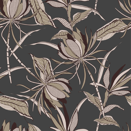 Seamless pattern of exotic flowers and  leaves drawn in line fill-in with polka dot pattern modern style design for fashion ,fabric and all prints on grey background vector Vettoriali
