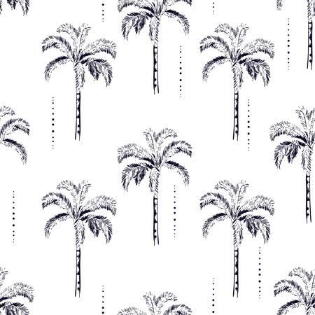 Silueta de palmeras y cocoteros sobre fondo blanco. Patrón transparente de vector con diseño de plantas tropicales para moda, papel tapiz de tela y todas las impresiones