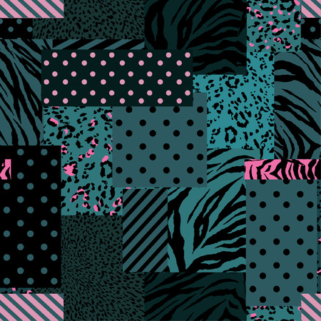Beautiful modern patchwork collage animal skin mixed with geometric pattern ,polka dots and stripe in  seamless vector design for fashion,fabric , wallpaper and all prints on stylish green Illustration