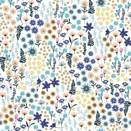 Dolce piccola libertà pastello molti tipi di motivi di fiori selvatici. Prato disegnato a mano Floreale Disegno vettoriale senza soluzione di continuità per la moda, carta da parati in tessuto e tutte le stampe su colore di sfondo bianco Vettoriali