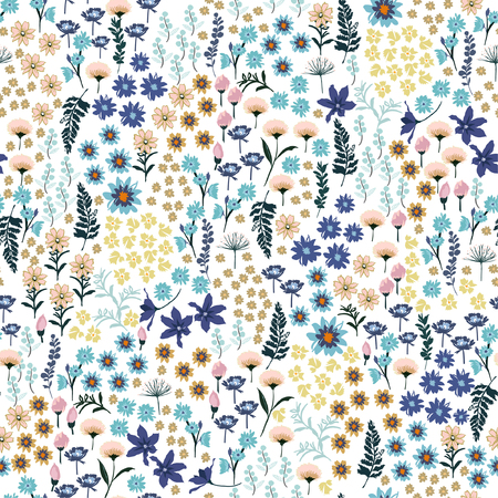Dulce pastel pequeño libertad muchos tipos de patrón de flores silvestres. Dibujado a mano prado floral diseño vectorial sin costuras para moda, papel tapiz de tela y todas las impresiones en color de fondo blanco Ilustración de vector