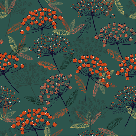 Beautiful Hand drawn seamless vector pattern. Fall/winter line flowers and orange berries design for fashion,fabric.wallpaper and all prints on dark green  background. Illustration