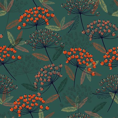 Hermoso patrón de vector transparente dibujado a mano. Diseño de flores y bayas de color naranja otoño / invierno para moda, tela, papel tapiz y todas las impresiones sobre fondo verde oscuro.