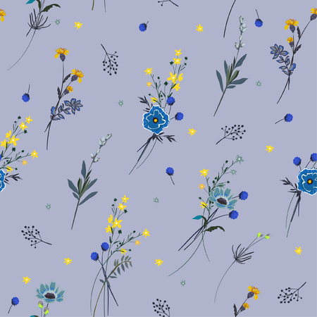 Trendy seamless pattern many kind of blooming meadow flowers Botanical  Motifs scattered random . Seamless vector texture. Elegant template for fashion prints. Printing with in hand drawn style on light blue background