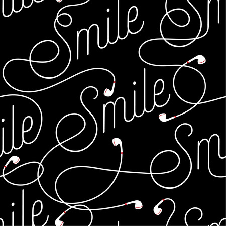 Good wording of Smile create by modern earphone seamless pattern vector design for fabric,wallpaper,fashion ,and all prints on black background color