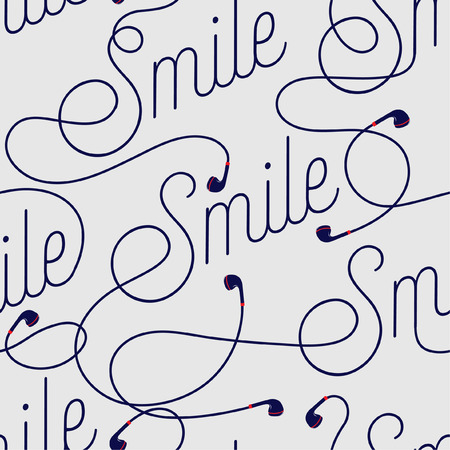 Stylish Wording of Smile create by modern earphone seamless pattern vector design for fabric,wallpaper,fashion ,and all prints on light grey background color Ilustração