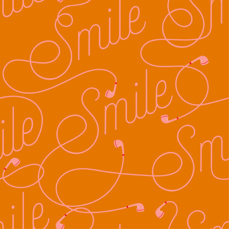 Trendy  Wording of Smile create by modern earphone seamless pattern vector design for fabric,wallpaper,fashion ,and all prints on bright orange background color