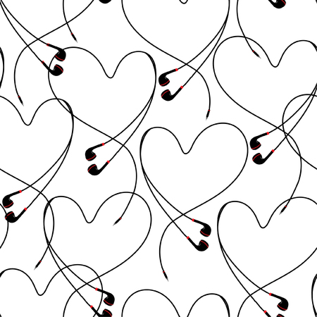 Modern black and white eyephone create positive heart seamless pattern vector design for fabric,wallpaper,fashion ,and all prints