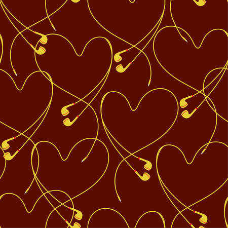 Trendy  eyephone create positive heart seamless pattern vector design for fabric,wallpaper,fashion ,and all prints on stylish brown background color Ilustração