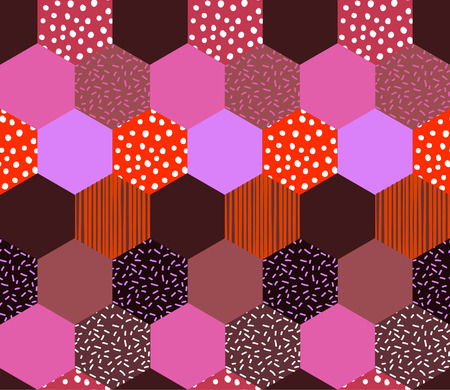 Trendy Geometric pattern. Abstract Pentagon background with hand drawn line stripe and polka dot Vector illustration.design for fashion , fabric,and all prints