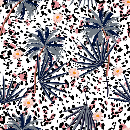 Trendiges nahtloses Tierdruckmuster mit tropischen Pflanzen und Leopardenmustern. Vektorillustrationsdesign für Mode, Gewebe, Papier, Tapete, Abdeckung, Inneneinrichtung und alle Drucke auf weißer Hintergrundfarbe