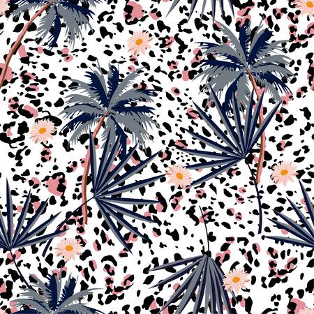 Trendy naadloos dierenprintpatroon met tropische planten en luipaardprints. Vectorillustratieontwerp voor mode, stof, papier, behang, omslag, interieur en alle prints op witte achtergrondkleur