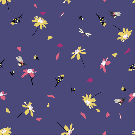 Colorful pretty daisy floral print blowing in the wind design with bumble bees seamless pattern in vector for fashion ,fabric ,wallpaper and all prints on dark blue background color