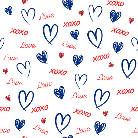Red and blue Hand drawn Seamless pattern with word love,heat, and xoxo in valentine mood vector illustration design for fashion,fabric,wallpaper,web and all prints on white background color
