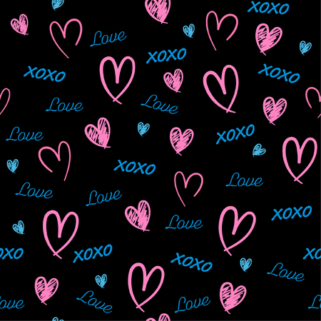Beautiful  Hand drawn Seamless pattern with word love,heat, and xoxo in valentine mood vector illustration design for fashion,fabric,wallpaper,web and all prints on black background color