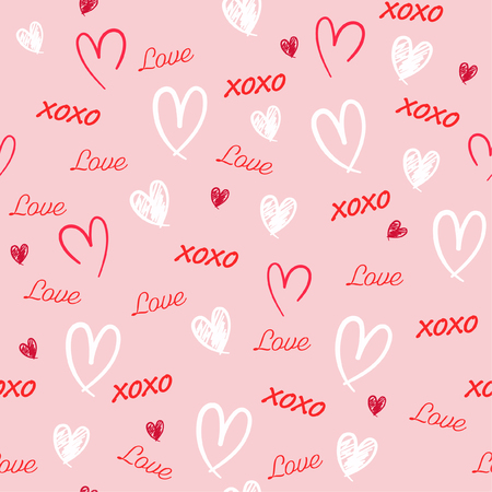 Sweet Hand drawn Seamless pattern with word love,heat, and xoxo in valentine mood vector illustration design for fashion,fabric,wallpaper,web and all prints on light pink background color