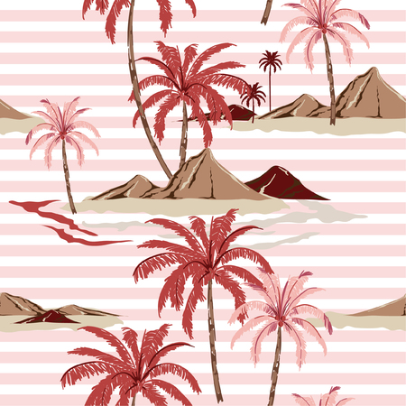 Summer Sweet Seamless tropical island pattern with light pink stripes Trendy hand drawn style . palm tree and leaves illustration oceans vibes design for fashion,fabric,wallpaper ,web and all prints