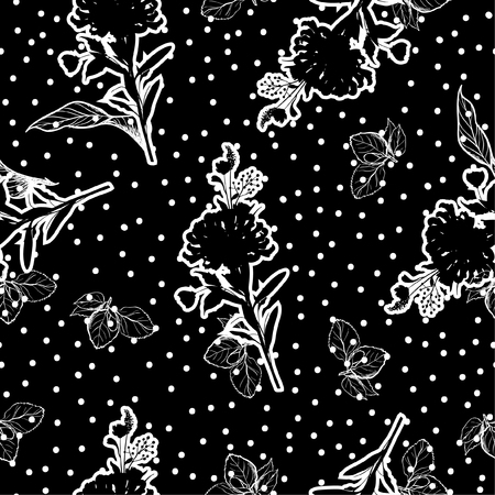 Modern black and white Silhouette flower with hand drawn line of leaves on polka dots seamless pattern vector design for fashion,web,wallpaper,and all prints on black background color
