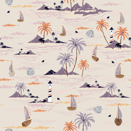 Beautiful seamless island pattern on pastel background. Landscape with palm trees,beach and ocean vector hand drawn style design for fashion,fabric,wallpaper,web and all prints Stock Illustratie
