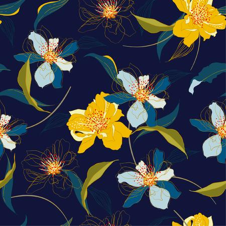 Belles fleurs de fleurs de cerisier en fleurs sans couture et fond de ligne avec feuillage Vector élégant. Modèle sans fin de mariage dans un style dessiné à la main pour la mode, le tissu, le web, le papier peint et toutes les impressions sur la couleur de fond bleu marine