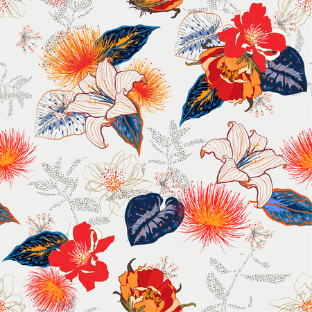 Beautiful Seamless pattern blooming Sweet romantic  Floral  in many kind of botanical plants and leaves in the garden ,Motifs vector texture. Design for fashion,fabric,web,wallpaper,and all prints  in hand drawn style on white background