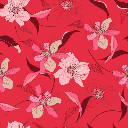 Trendy sweet Seamless blooming cherry blossom flowers and line background with foliage  Vector elegant . Wedding endless pattern in hand drawn style design for fashion,fabric,web,wallpaper and all prints on pink coral background color