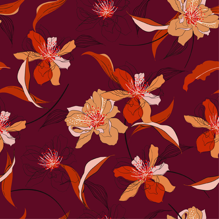 Trendy Vector elegant seamless blooming cherry blossom flowers and line background with foliage. Wedding endless pattern in hand drawn style design for fashion,fabric,web,wallpaper and all prints on dark maroon background color 矢量图像