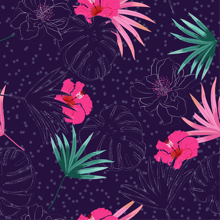 Tropical palm leaves and hibiscus and exotic forest flowers white hand drawn line layer on polka dots seamless pattern design for fashion,fabric,web,wallpaper,and all prints on drak purple