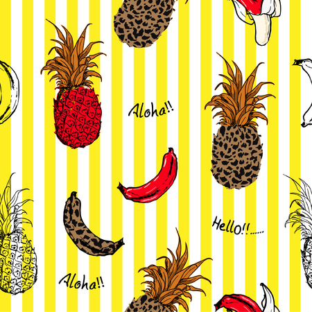 Summer fruits pineapple and bananas fill in with animal leopard skin seamless pattern in vector design for fashion fabric and all prints on yellow stripe background color
