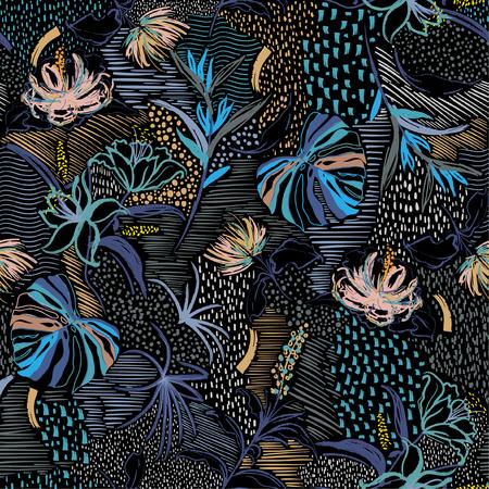 Bunte stilvolle nahtlose Muster Vektor handgezeichnete Blume, tropischer Palmenwald und blühende Blumen in Linienskizze Stimmungsdesign für Modegewebe und alle Drucke