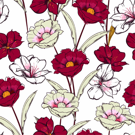 Stylish Hand drawn sketch blooming flowers in the garden floral repeat seamless pattern in vector design for fashion , fabric web, wallpaper and all prints on white background color Standard-Bild - 124652199