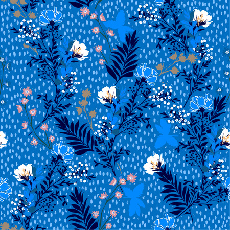 Vector illustration of a hand drawn meadow flowers and leaves. Seamless vector pattern with hand paint polkadots design for fashion , fabric, web, wallpaper, and all prints on sky blue background color Standard-Bild - 124652201