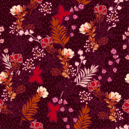 Beautiful Vector illustration of a hand drawn meadow flowers and leaves. Seamless vector pattern with hand paint polkadots design for fashion , fabric, web, wallpaper, and all prints on dark maroon background color Standard-Bild - 124652202
